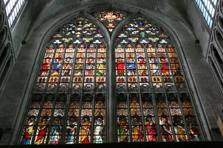 sint: Beautiful stained glass art in Sint Salvator Cathedral in Brugge, Belgium Editorial