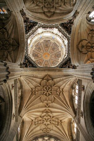 salamanca: Interior, ceiling and dome of Salamanca cathedral in Spain. Beautiful old Catholic church.
