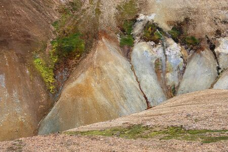 felsic: Iceland. Beautiful geology rock creations. Famous volcanic area with rhyolite rocks - Landmannalaugar.