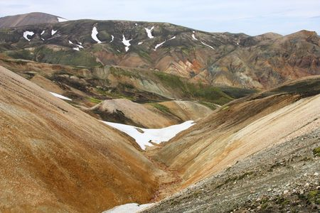 felsic: Iceland. Beautiful mountains. Famous volcanic area with rhyolite rocks - Landmannalaugar.