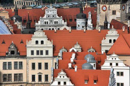 frauenkirche: Sehensw�rdigkeiten in Dresden, Sachsen, Deutschland. Blick vom Frauenkirche Domkuppel.