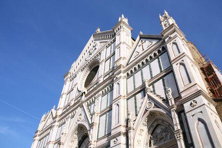 neogothic: Basilica di Santa Croce (Basilica of the Holy Cross), principal Franciscan church in Florence, Italy. Neo-gothic facade.