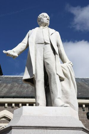 superintendent: William Rolleston, Superintendent of Canterbury - statue memorial in Christchurch, New Zealand Stock Photo