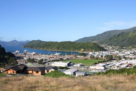 aotearoa: Townscape of Picton and Marlborough Sounds, New Zealand. Famous harbor town.