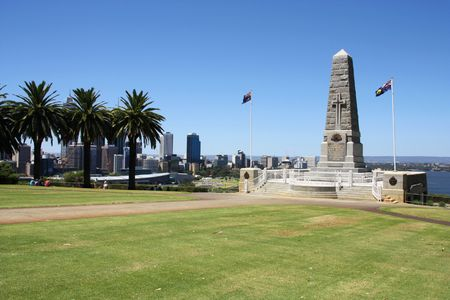 State War Monument at Kings Park, Perth, Western Australia. Swan River and skyline in the background.