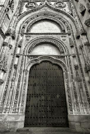 Beautiful, ornate, decorated door of Salamanca Cathedral, Spain photo