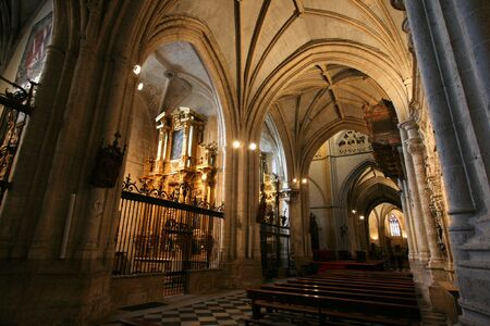 Gothic interior of Palencia cathedral in Spain