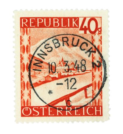 philatelic: Old stamp from Austria. Cancelled in Innsbruck in 1948.