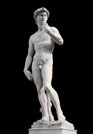 perfection: Famous statue of David by Michelangelo, isolated against black background. Renaissance sculpture in Florence, Italy.