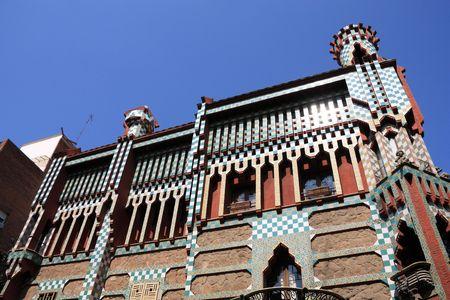 trencadis: Famosa Casa Vicens dise�ado por Antoni Gaud�. Hito en Barcelona, Espa�a.