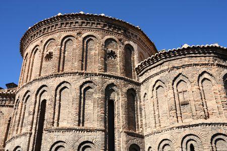 mudejar: Church of Santiago del Arrabal in Toledo, Spain. Old landmark in Mudejar style. Stock Photo
