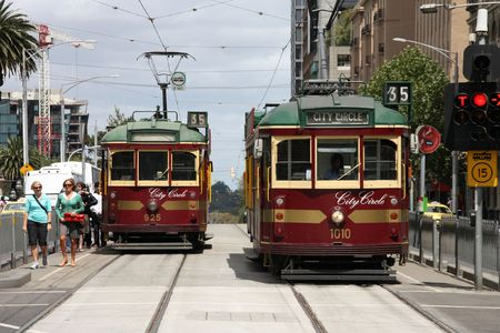 MELBOURNE - FEBRUARY 9: Famous vintage tourist trams on February 9, 2009 in Melbourne, Australia. Melbourne is the second most visited city in Australia.