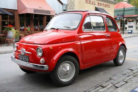 notable: NEW ZEALAND - FEBRUARY 29: Fiat 500 on February 29, 2009 in Arrowtown, New Zealand. Fiat 500 is notable for being probably the first city car. Currently a wanted car among collectors.