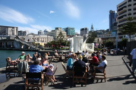 wellington: WELLINGTON - MARCH 7: Street cafe on March 7, 2009 in Wellington, New Zealand. Wellington is a major tourism destination and capital city of New Zealand. Editorial