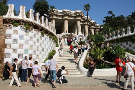 BARCELONA - SEPTEMBER 12: Tourists visiting famous Park Guell on September 12, 2009 in Barcelona. Covering 50 acres, Park Guell is the largest masterpiece designed by Antonio Gaudi. Stock Photo - 6886974