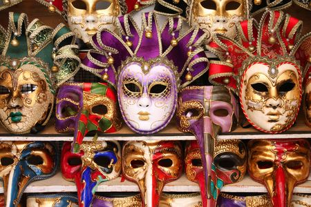 carnival masks: Venice carnival masks. Famous traditional decoration from Venezia, Italy. Stock Photo