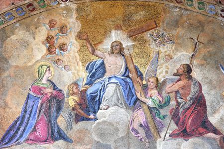 ascension: Mosaic depicting Ascension of Jesus Christ in Saint Marks Basilica - cathedral church of Venice, Italy.