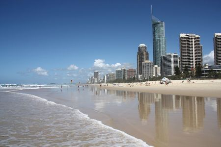 townscape: Waterfront skyline with famous Q1 skyscraper - Surfers Paradise city in Gold Coast region of Queensland, Australia