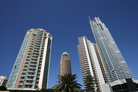 Huge skyscrapers in Surfers Paradise city in Gold Coast, Queensland, Australia photo