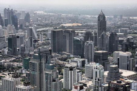 krung: Bangkok - aerial view of the city from the tallest building in Thailand, Baiyoke Tower 2. Stock Photo