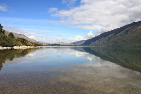 australasia: New Zealand. Lake Wakatipu - beautiful travel destination in Otago region. Stock Photo