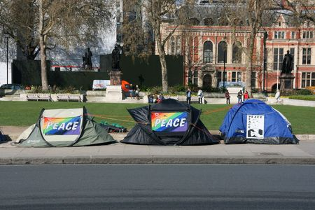 parliament square: LONDON - APRIL 10: Tents of protesters against war on April 10, 2008 at Parliament Square, London, England.