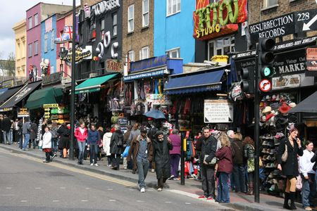 streets of london: LONDON - APRIL 12: Famous alternative culture shops on April 12, 2008 in Camden Town, London. Camden Town markets are visited by 100,000 people each weekend (source: The Independent).