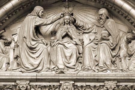 Brussels, Belgium. Church exterior: Notre Dame de la Chapelle. Coronation of Virgin Mary sculpture. Religious theme. Stock Photo - 6422511