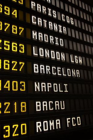Departure board at an airport in Italy. Flights to Paris, Catania, Madrid, London, Barcelona, Napoli, Bacau and Rome.