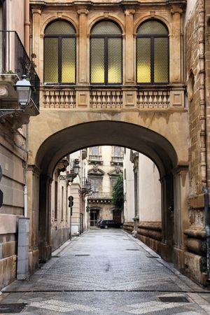 trapani: Trapani, Sicily, Italy. Old town street, decorative architecture.