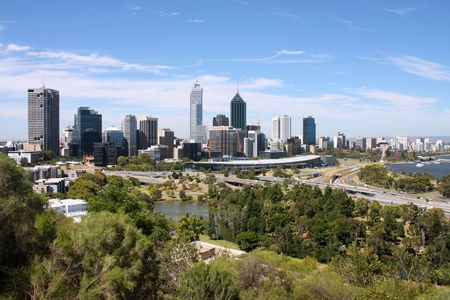 perth: Perth, Australia. City wide skyline view from Kings Park. Australian urban cityscape.