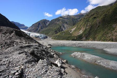 fox glacier: Fox Glacier, New Zealand. Westland National Park. Southern Alps mountains.