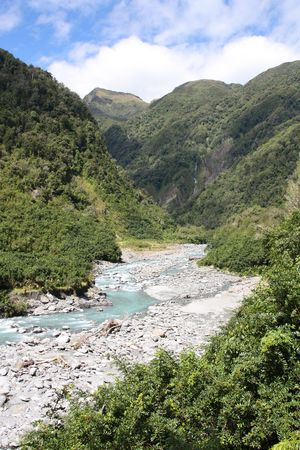 temperate: New Zealand, West Coast. Mountain creek and lush temperate rainforest. Stock Photo