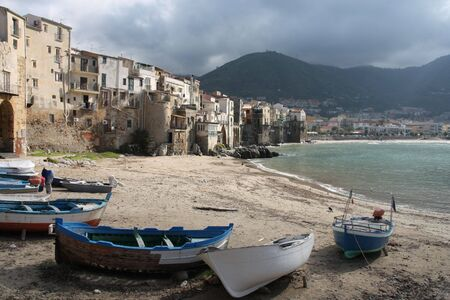 Cefalu, Sicily island in Italy. Harbor view of beautiful Mediterranean town. Province of Palermo. Stock Photo - 6460748