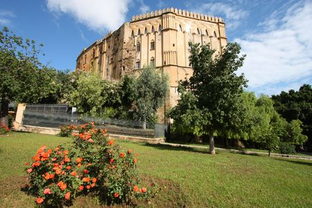dei: Palermo, Sicily island in Italy. Famous Palazzo dei Normanni, old royal seat in Arab-Norman-Byzantine style. Stock Photo