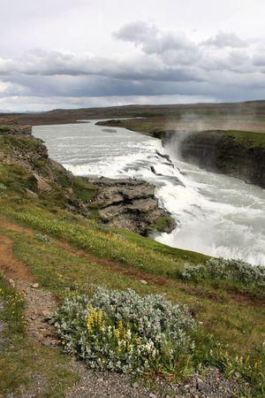 Gullfoss in Icelandic area called Golden Circle. Rainbow on river Hvita. Famous waterfall. Stock Photo - 6460776