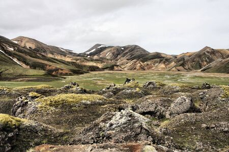felsic: Iceland. Beautiful mountains and huge lava field. Famous volcanic area with rhyolite rocks - Landmannalaugar.