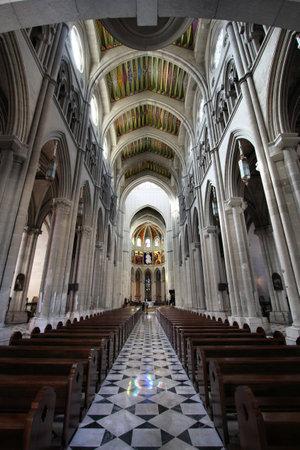 Beautiful Neo-gothic interior of Santa Maria la Real de La Almudena - famous cathedral in Madrid, Spain Stock Photo - 6501545