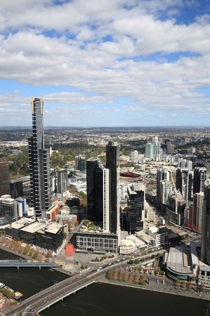 Aerial view of Melbourne and Yarra River. The prominent building is Eureka Tower, which is the worlds tallest residential tower when measured to its highest floor. photo