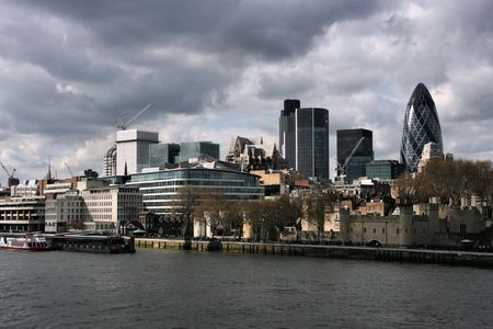 London skyline with storm clouds and distinctive skyscrapers