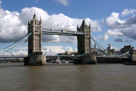 London - Tower Bridge. Famous landmark across Thames River. photo