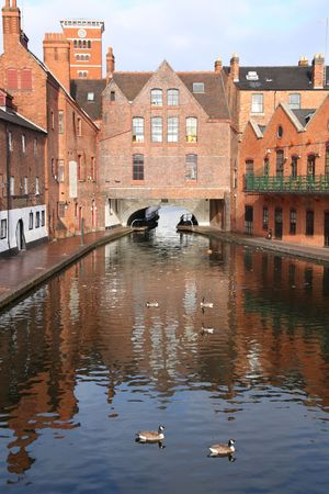 Birmingham water canal network - famous Gas Street Basin with wild geese. West Midlands, England. Stock Photo - 6615770