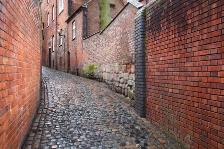 cobbled: Coventry in West Midlands, England. Old town cobbled street.