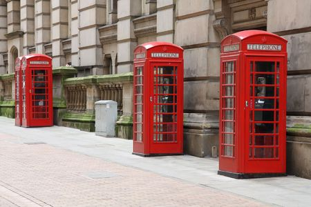 Birmingham red telephone boxes. West Midlands, England. Stock Photo - 6615931