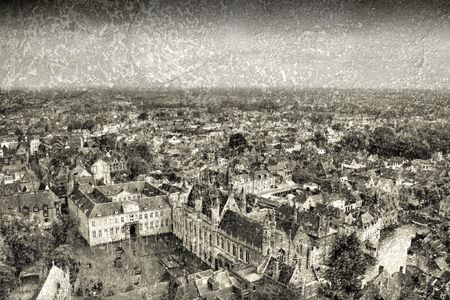 harsh: Aerial view of Bruges, Belgium with prominent Basilica of Holy Blood. Grunge harsh version.