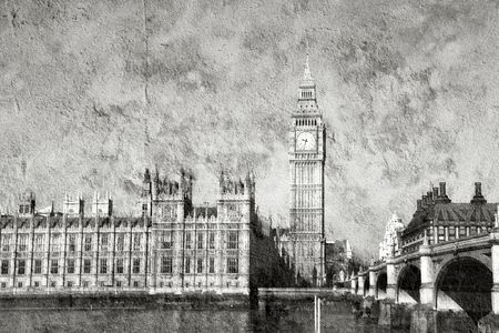 harsh: Thames view in London: Big Ben and Houses of Parliament. Westminster Bridge. Grunge harsh version. Stock Photo