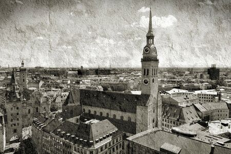 harsh: Cityscape of Munich, Bavaria, Germany seen from the top of city hall. Prominent church - Peterskirche. Grunge harsh version.
