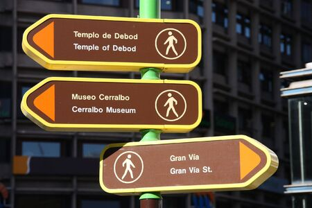 Direction signs to popular landmarks in Madrid, Spain photo