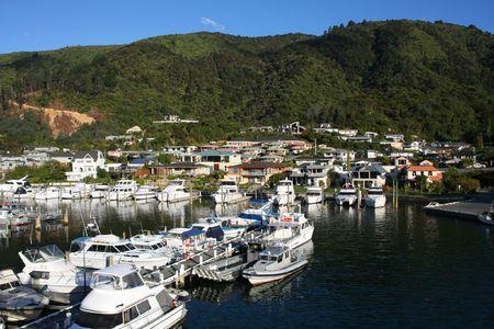 australasia: Townscape of Picton, New Zealand. Famous harbor town. Yacht marina.