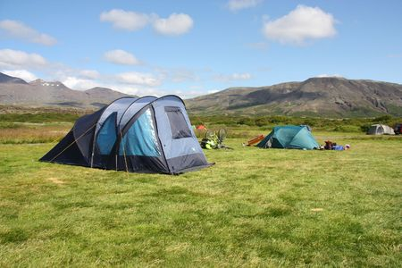 campground: Campground in Thingvellir - famous tourist area in Iceland. Summer camping.
